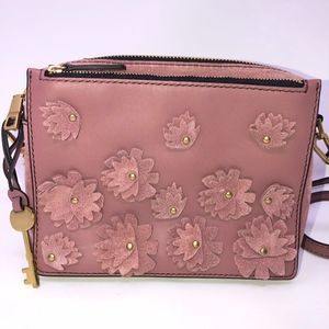 Fossil leather small square purse crossbody suede